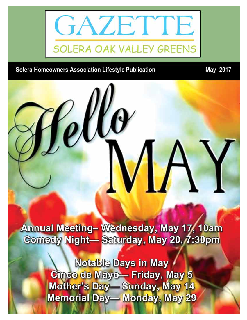 May 2017 Newsletter Cover