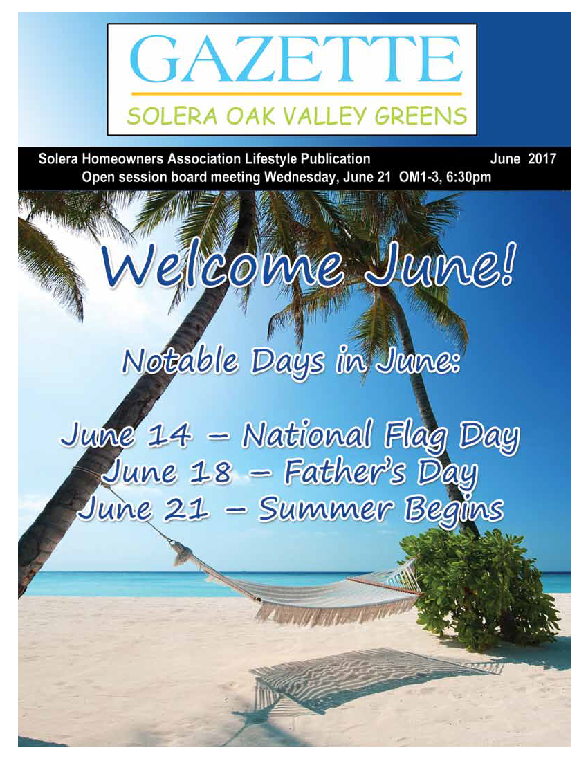 June 2017 Newsletter Cover