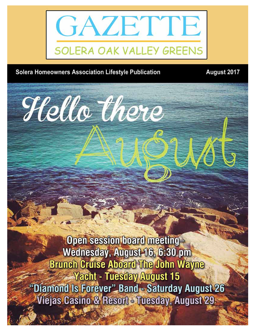 August 2017 Newsletter Cover