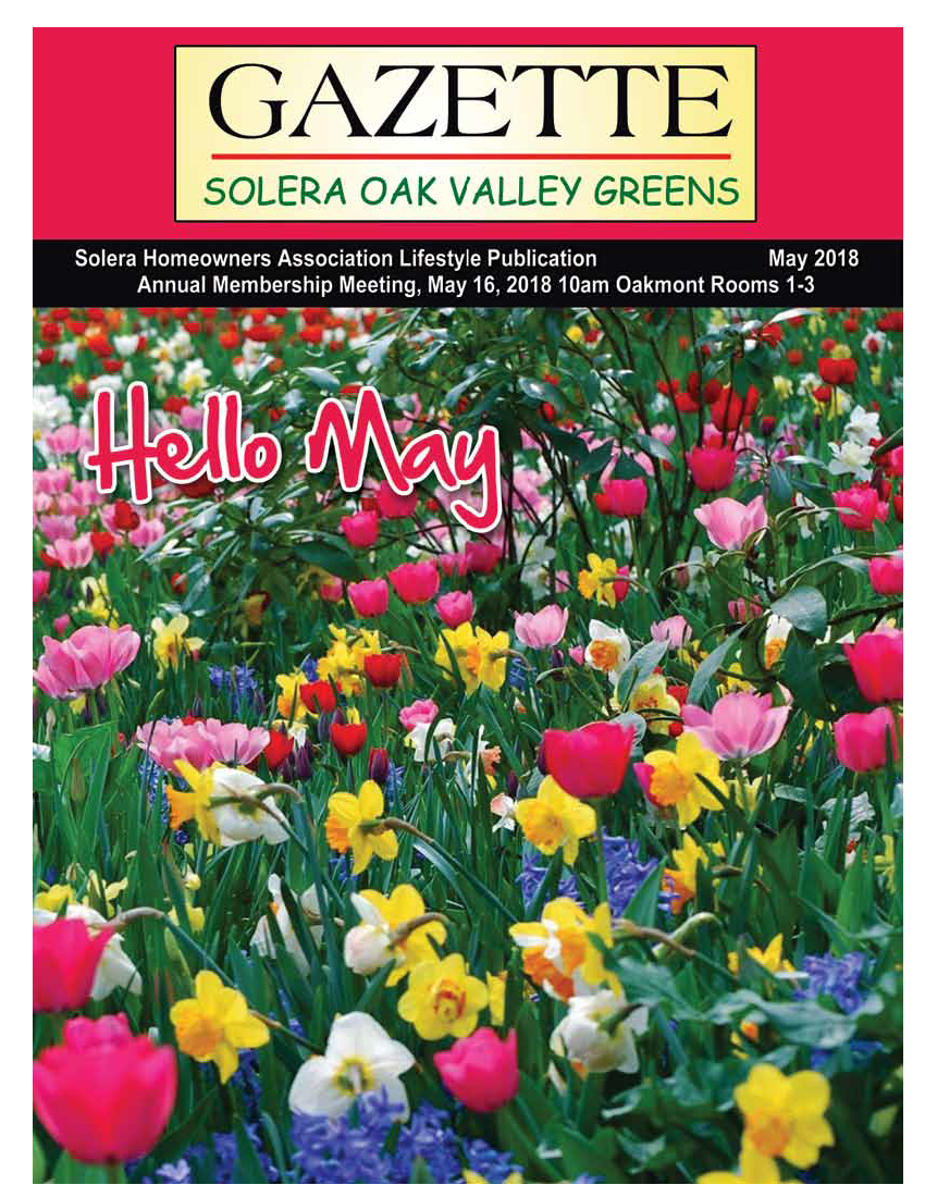 May 2018 Newsletter Cover