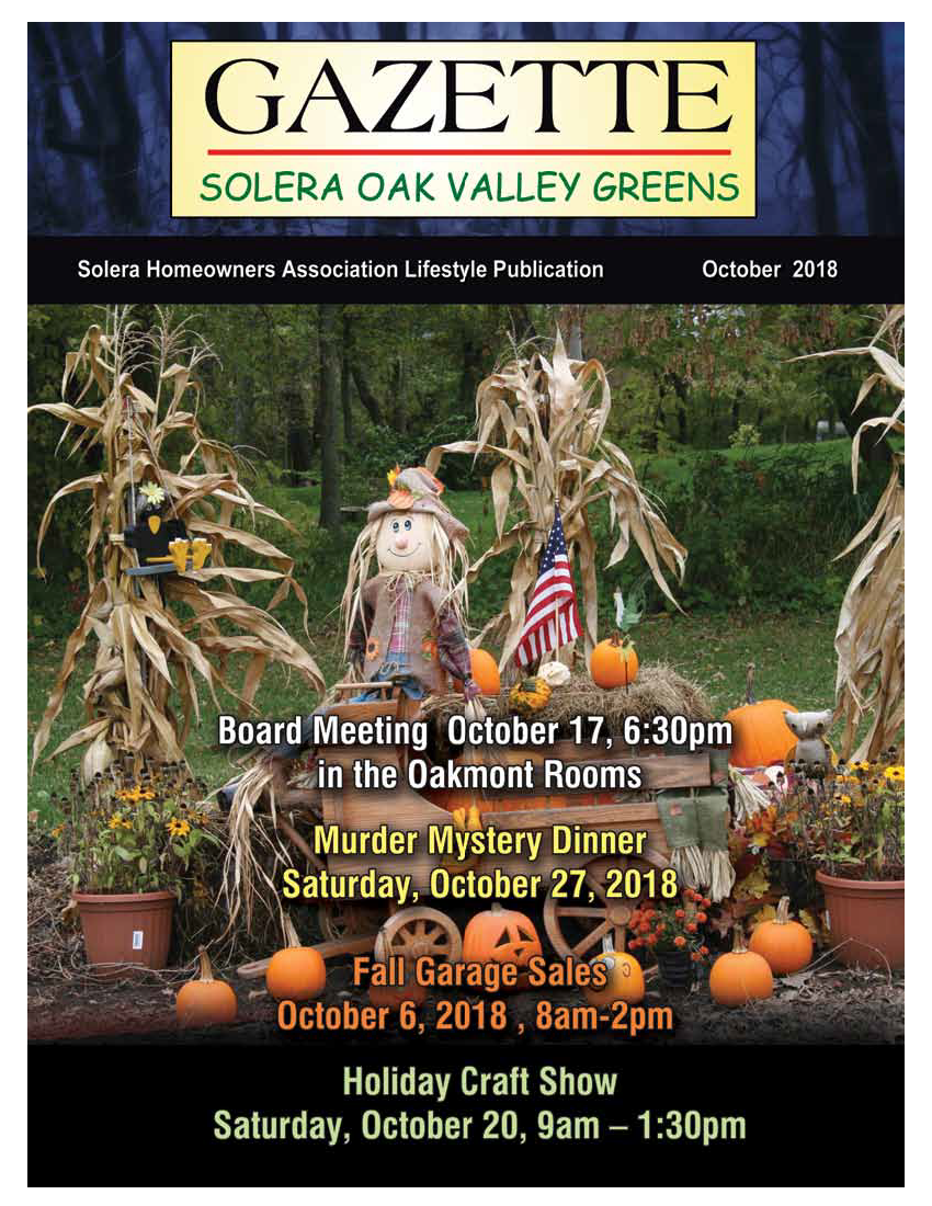 Oct 2018 Newsletter Cover