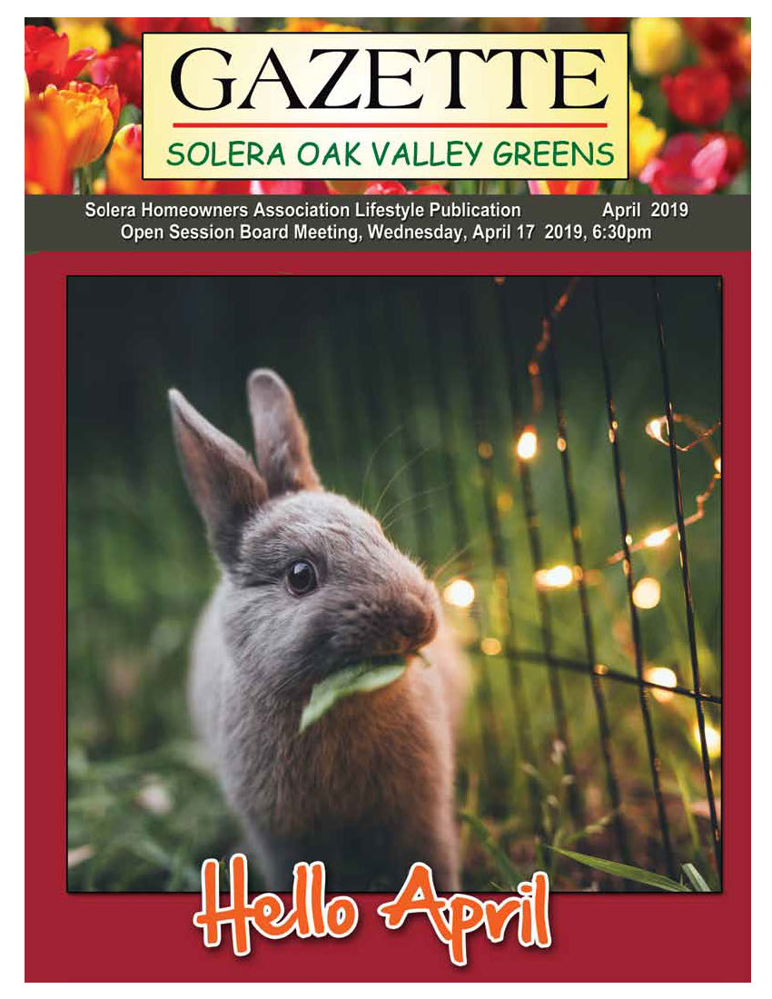April 2019 Newsletter Cover