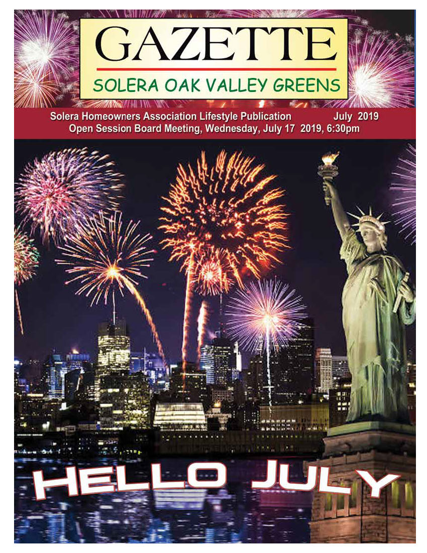 July 2019 Newsletter Cover