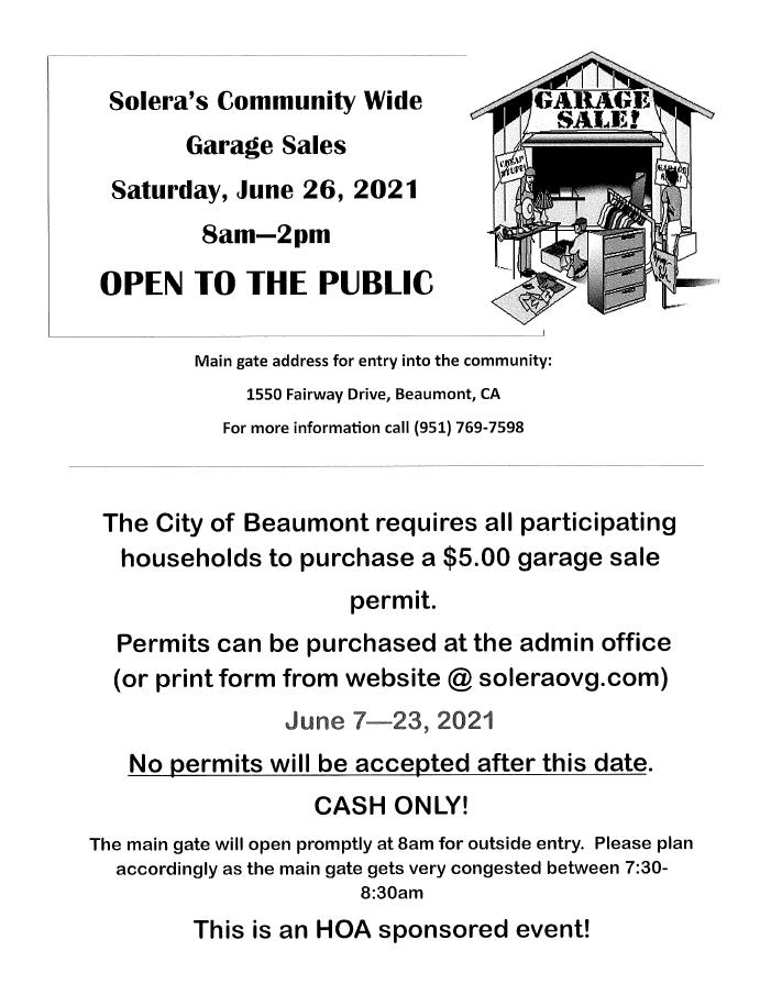 Community Garage Sale Saturday, June 26, 2021 8:00 am - 2:00 pm