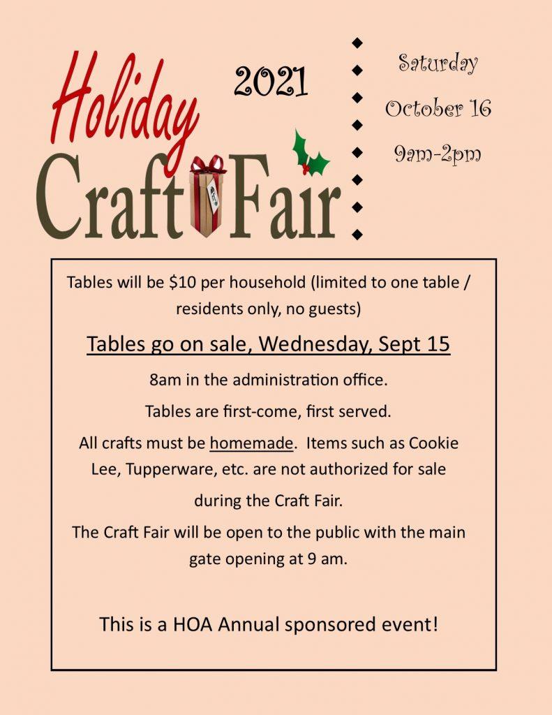 Holiday Craft Fair Saturday, October 16, 2021 9:00am-2:00pm
