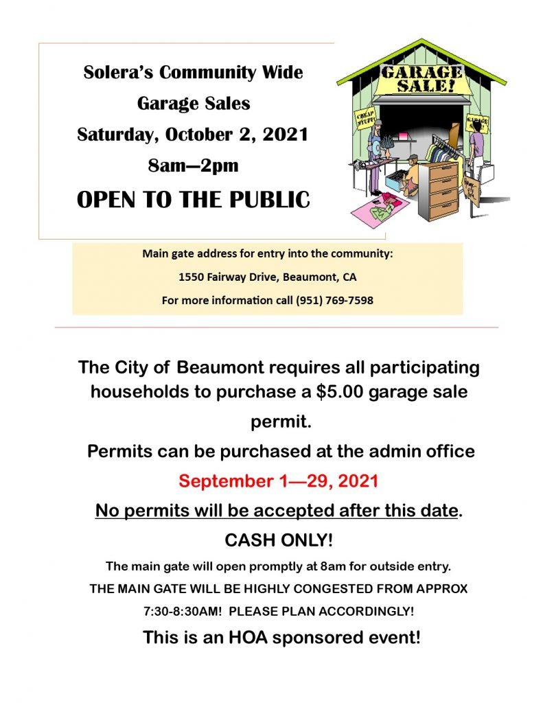 Community Garage Sale October 2, 2021