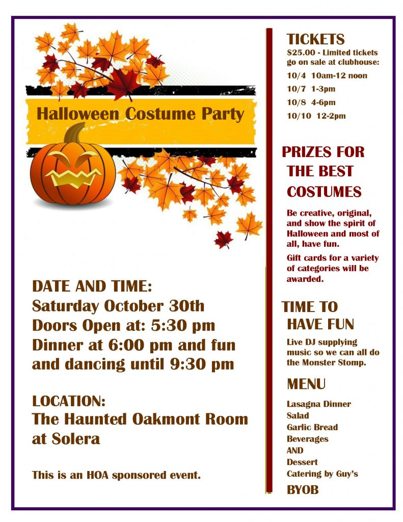 Halloween Costume Party Saturday October 30th The Haunted Oakmont Room